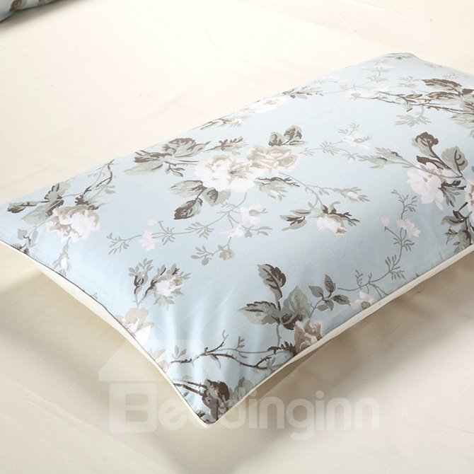 Fresh Flower Cozy Cotton 4-Piece Blue Duvet Cover Sets