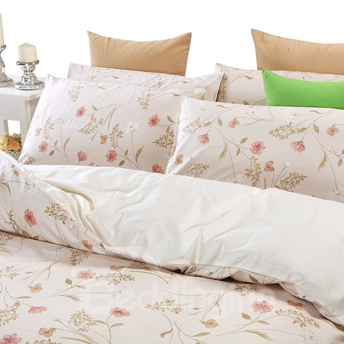 Top Class Pink Floral Cozy 100% Cotton 4-Piece Duvet Cover Sets