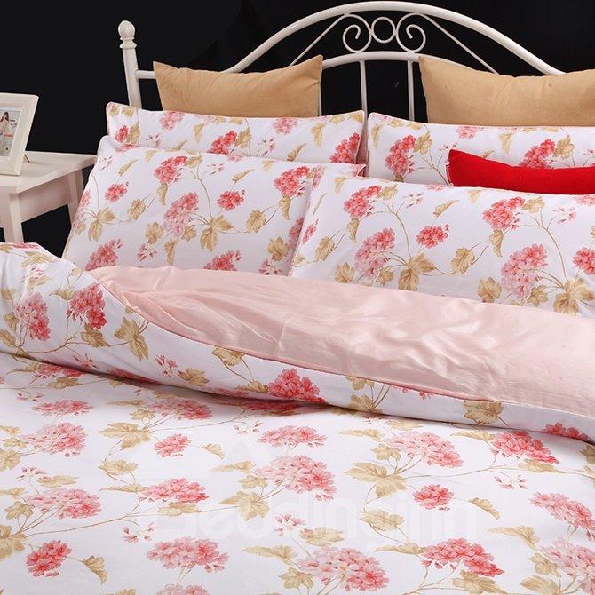 Fancy High Grade Pink Flower 100% Cotton 4-Piece Duvet Cover Sets