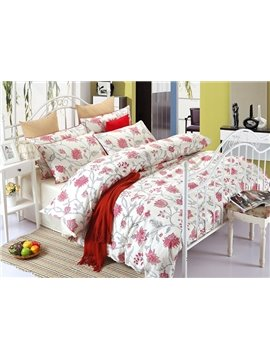 High-end Graceful Red Floral 100% Cotton 4-Piece Duvet Cover Sets