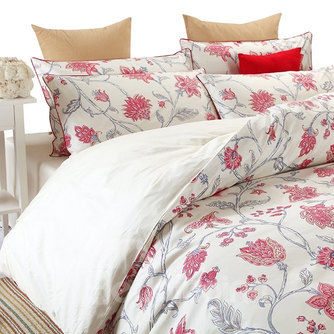 high end graceful red floral 100 cotton 4 piece duvet cover sets. Black Bedroom Furniture Sets. Home Design Ideas