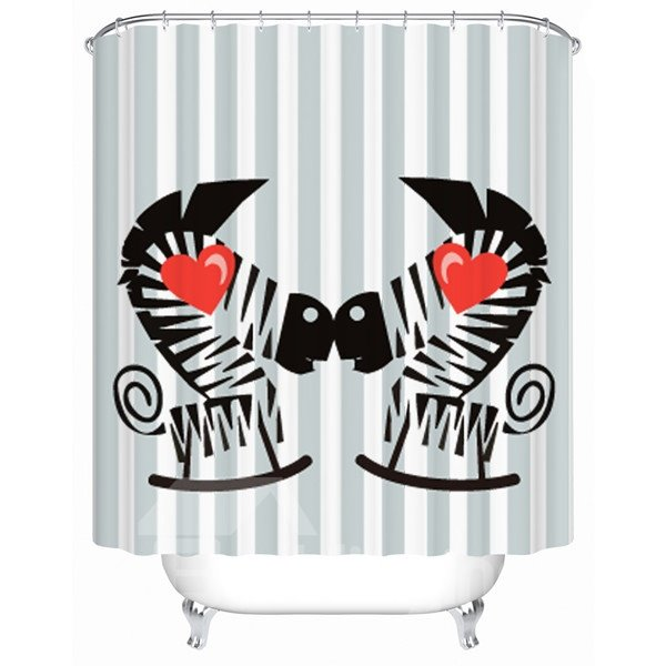 Charming Creative Love Zebra Pattern Shower Curtain
