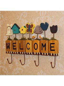 Fantastic Wood Decorative Forest House and Butterfly Welcome Wall Hook
