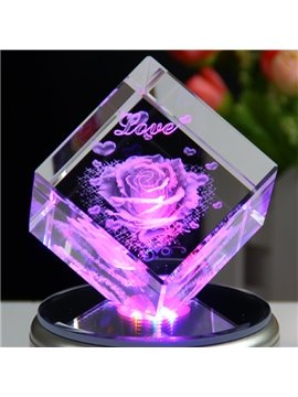 Beautiful 3D Crystal Furnishing Article with Colorful Rotating Music Base