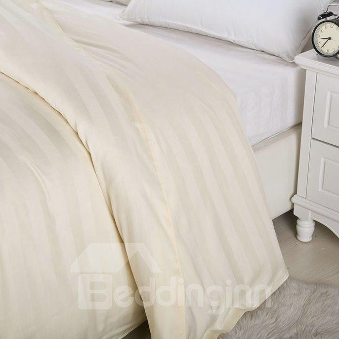 Ribbon Design Cotton Beige 4-Piece Duvet Cover Sets
