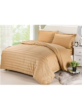 Classic Stripe Camel Cotton 4-Piece Duvet Cover Sets