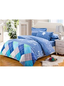 Classic Plaid Bright Stars 100% Cotton 4-Piece Duvet Cover Sets