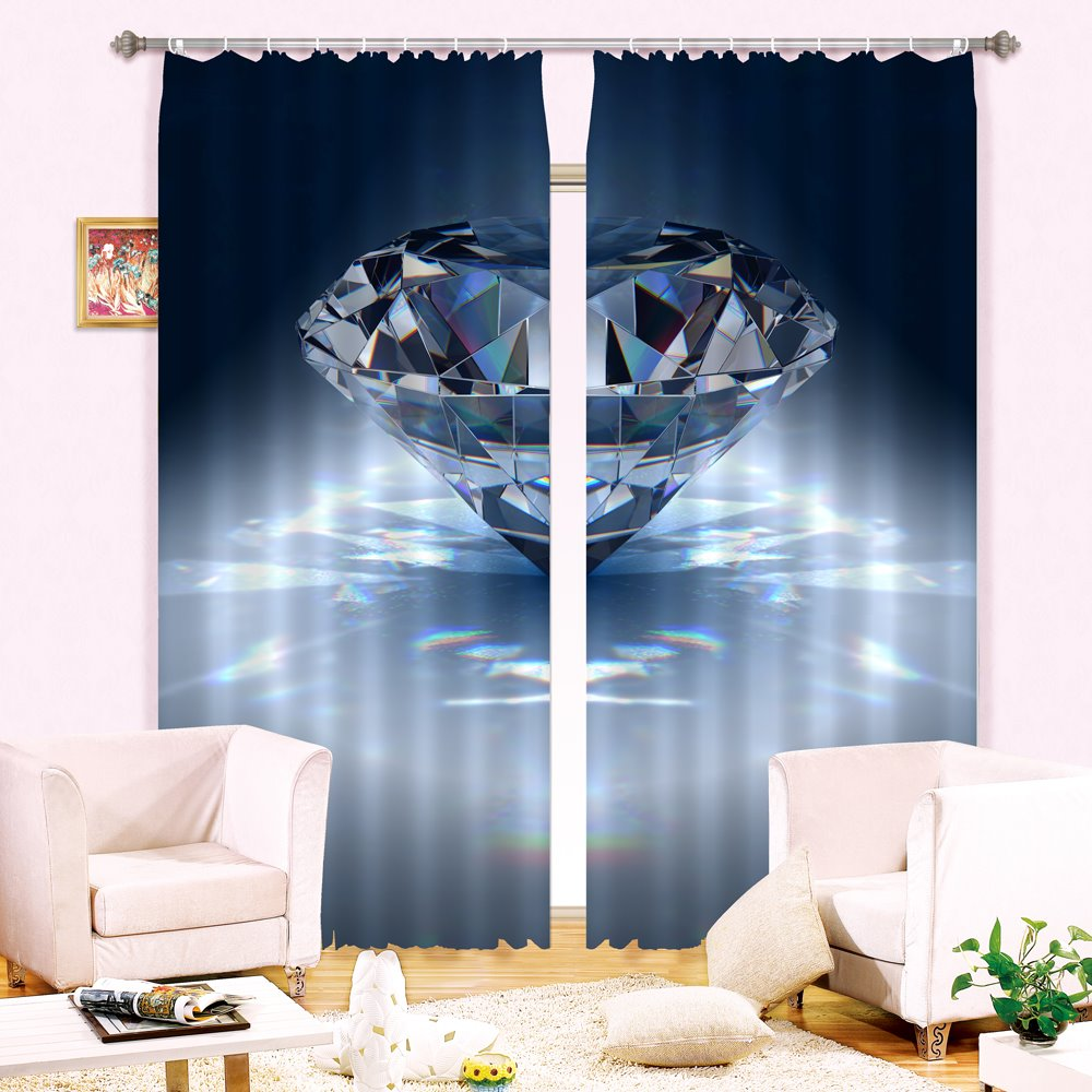 Beautiful Diamond Print 3D Blackout Curtain