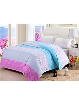 Stitching Color Adorable Dot Flower Stripe Cotton 4-Piece Duvet Cover Sets