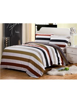 Classic Stripe European Style Cotton 4-Piece Duvet Cover Sets