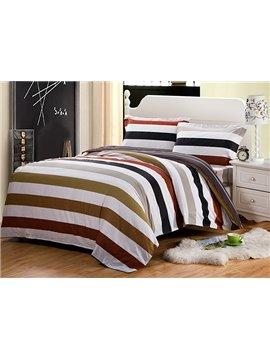 Classic Stripe European Style Cotton 4-Piece Duvet Cover Sets