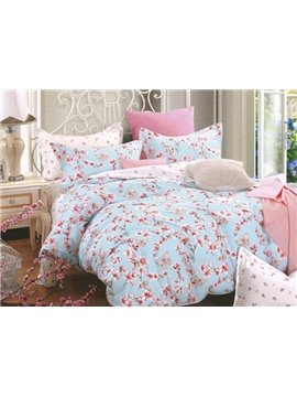 Alive Butterflies Flying across Flowers 4-Piece Duvet Cover Sets