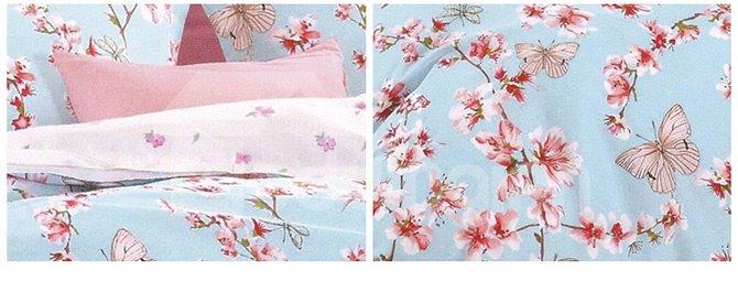 Alive Butterflies Flying across Flowers 4-Piece Duvet Cover Sets