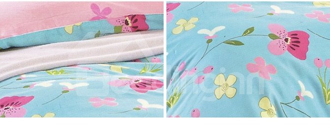 Sweet Floral Cotton 4-Piece Duvet Cover Sets