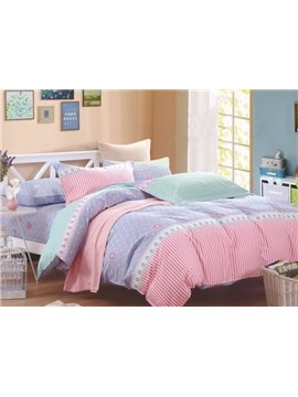 Sweet Dot Stripe Design Cotton 4-Piece Duvet Cover Sets