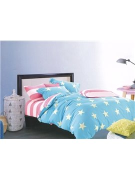 Modern Stars Graceful Blue 4-Piece Cotton Duvet Cover Sets