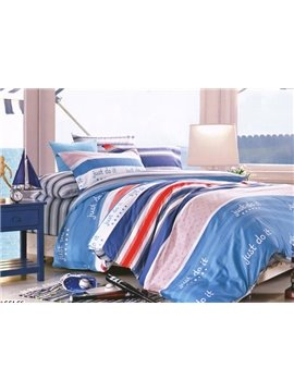 Stylish English Sentence Stripe Print 4-Piece Cotton Duvet Cover Sets