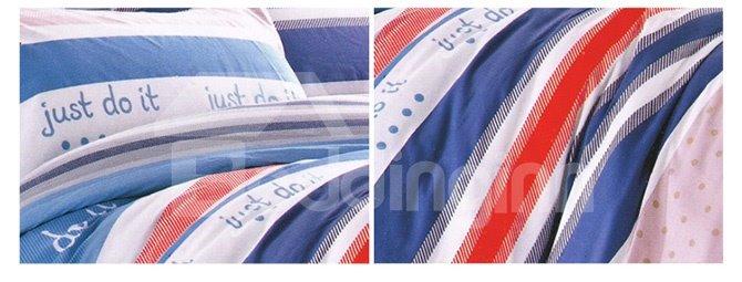 Stylish English Sentence Stripe Print 4-Piece Cotton Duvet Cover Sets