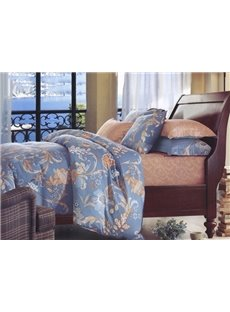 European Style Noble Flower Print 4-Piece Cotton Duvet Cover Sets