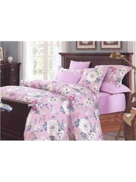 Elegant Adorable Flower Print Cotton Pink 4-Piece Cotton Duvet Cover