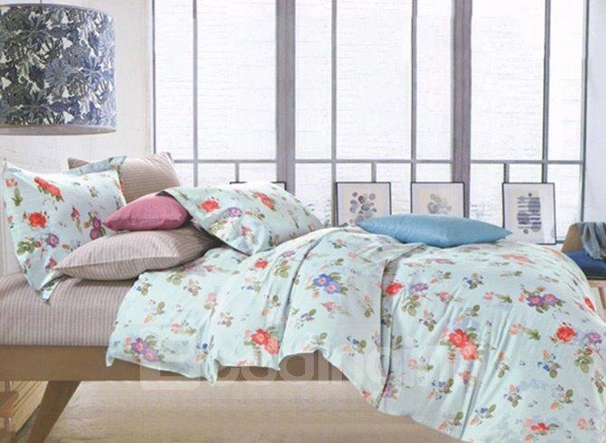 Comfy Cotton Colorful Floral Fresh Green 4-Piece Cotton Duvet Cover Sets