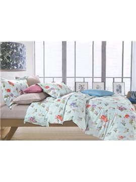 Comfy Cotton Colorful Floral Fresh Green 4-Piece Cotton Duvet Cover Sets