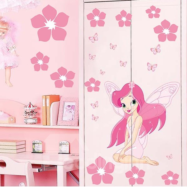 Lovely Little Winged Fairy and Flowers Print Wall Stickers