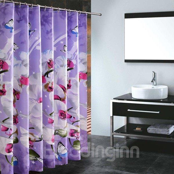 Elegent Vivid Butterfly Orchid Bathroom Shower Curtain