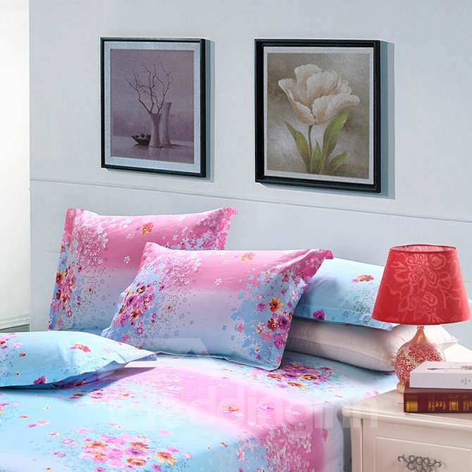 Cute Pink Floral Fresh Blue Backdrop 4-Piece Cotton Duvet Cover Sets