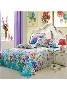 Comfy Gorgeous Colorful Floral  4-Piece Duvet Cover Sets