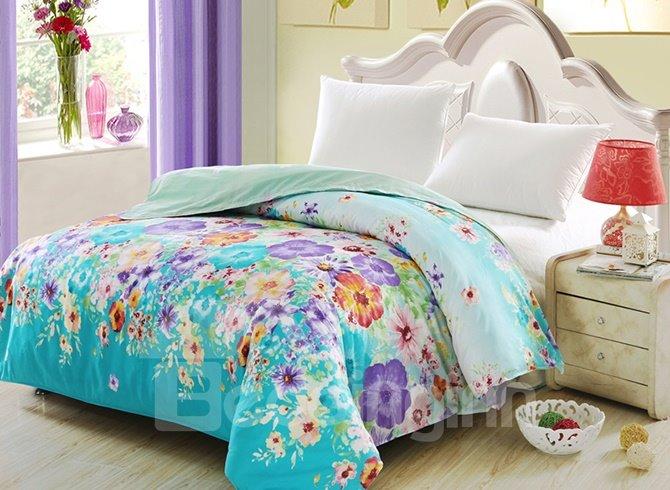 Comfy Gorgeous Colorful Floral  4-Piece Duvet Cover Sets