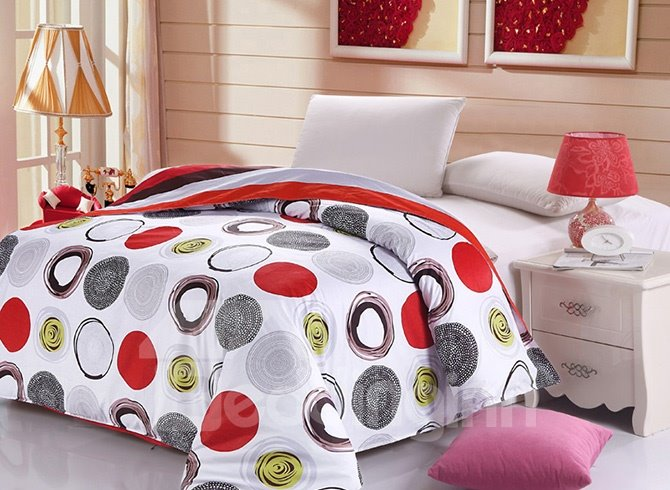 Stylish Concise Circles Print 4-Piece Cotton Duvet Cover Sets