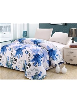 Graceful Fresh Blue Floral Cotton 4-Piece Duvet Cover Sets