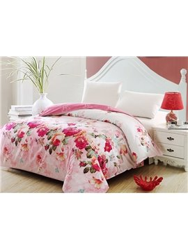 Fragrant Floral Cotton Pink 4-Piece Cotton Duvet Cover Sets