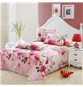 Fragrant Floral Cotton Pink 4-Piece Cotton Duvet Cover Sets