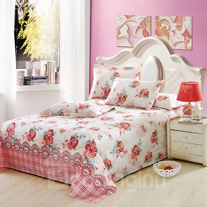 Snug Red Floral Print Cotton 4-Piece Duvet Cover Sets