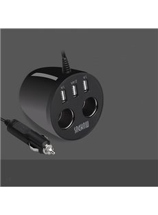Distinctive 3-Port USB with Dual Cigarette Lighter Car Charger