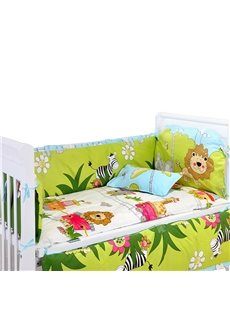 Adorable Animals Pattern 4-Piece Crib Bedding Bumpers