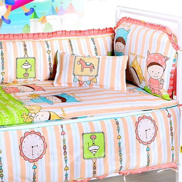 Adorable Little Person Figure 4-Piece Crib Bedding Bumpers
