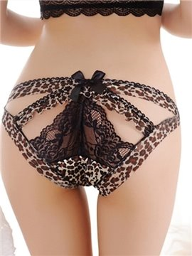 Sexy Leopard Cut Out Low Waist Lace Underwear