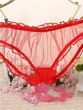 Stylish Solid Color Sheer Net Ruffle Underwear