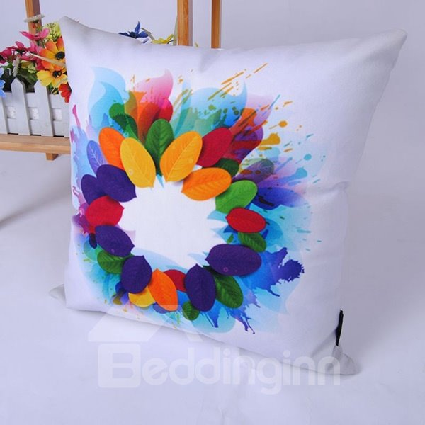Stylish Digital Printing Multicolor Leaves Throw Pillowcase