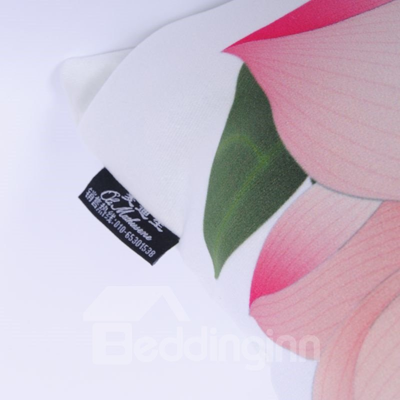 Lifelike Graceful Lotus Digital Printing Throw Pillowcase
