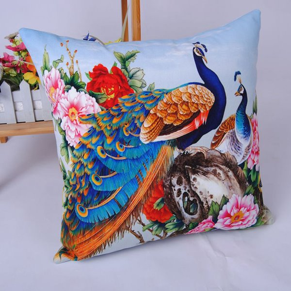 Attractive Peacock Peony Digital Printing Throw Pillowcase