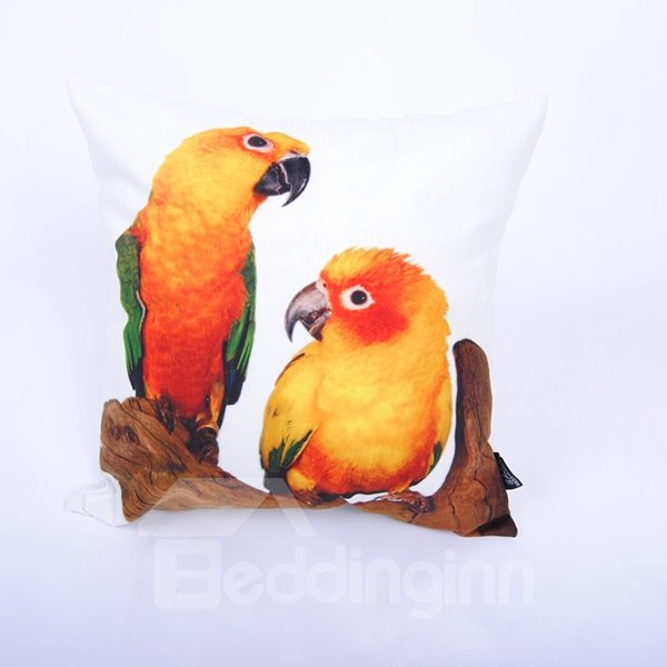 Vigorous Orange Parrot Digital Printing Throw Pillowcase