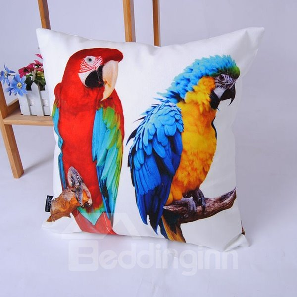 Top Grade Colorful Parrot High-Definition Digital Printing Throw Pillowcase
