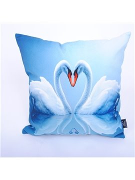 Romantic Swan Couple Elegant Blue Digital Printing Throw Pillowcase