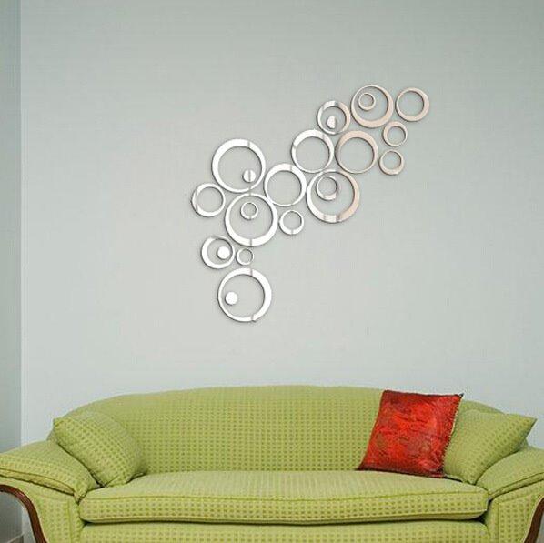 unique creative crystal mirror circular diy 3d wall