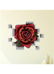 Stunning Creative Red Romantic Rose 3D Wall Sticker Wall Clock