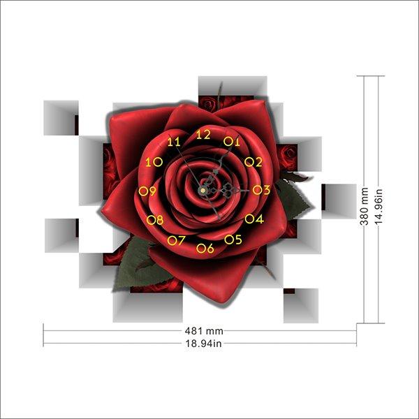 Stunning Creative Red Romantic Rose 3D Wall Sticker Wall Clock
